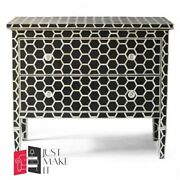 Bone Inlay Chest Sideboard White Honeycomb Made To Order