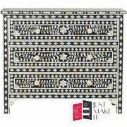 Bone Inlay Chest Sideboard Black And White Floral Made To Order