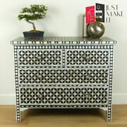 Bone Inlay Chest Of Drawer Sideboard Black Made To Order