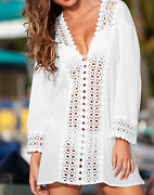 Summer Sexy Women Bikini Cover Up Dress Hollow Out V-neck Beach Coverups Lace