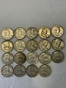 1960, 1961, 1962 Lot Of Silver Franklin Half Dollars. 19 Total. As