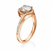 1 1/2 Ct Scintillant Anneau Fianandccedilailles Diamant Rond Coupe F / Vs1 14k Or Rose