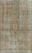 Antique Floral Ardakan Hand-knotted Area Rug Green Wool Oriental Carpet 6and039x10and039