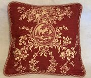 French Country Cottage Pillow Farm Fresh Red Ivory Toile Check