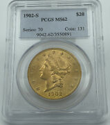1902-s Pcgs Ms62 20 Gold Liberty Double Eagle Stunning Luster