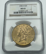 1900-s Ngc Ms62 20 Gold Liberty Double Eagle Stunning Luster