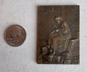 Antique B. Moria Bronze Plaque Woman Sewing And Well French Medallion