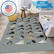 Jordan Sneaker Collection Many Color Rug For Living Room Decor For Shoes Lover