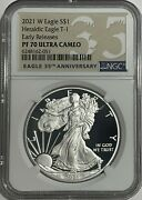 2021 W 1 Ngc Pf70 Er Ucam Early Release Proof Silver Eagle Heraldic T-1 35th Lb