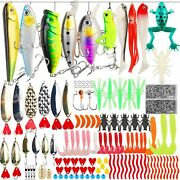 375 Pcs Set Fishing Tackle Box Full Loaded Accessories Hooks Lures Baits Worms