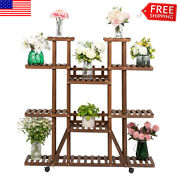 Multi Tier Wood Flower Rack Plant Stand Bonsai Display Shelves Indoor With Wheel