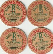 Lot Of 4 Milk Bottle Caps. Eastern Farms Products Inc. Brooklyn, Ny. Dairy