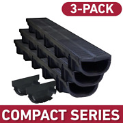 Plastic Trench Channel Drain Kit Black Grate Pool Patio Driveway Drainage 3 Pack