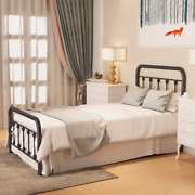 Noillats Metal Bed Frame Twin Size With Vintage Headboard And Footboard, Premium