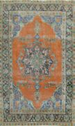 Antique Geometric Tebriz Hand-knotted Area Rug Orange Wool Oriental 6and039x9and039 Carpet