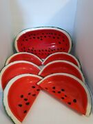 1979 Handmade Watermelon Fruit Bowl With 6 Dishes