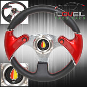 Red 320mm 3 Spokes Pvc Leather Dual Nos Button Steering Wheel Jdm Old Leaf Horn