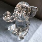 Vtg Riekes Chalet Lead Crystal Seated Elephant Trunk Up Hand Crafted Canada