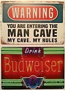 8x12 In Tin Signs 2pc Set Warning Man Cave Funny Budweiser Beer Neon Bar Wall