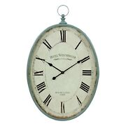 Retro Rustic Wall Clock Metal Oval Shape Cottage Antique Style Distressed Finish