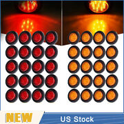 20 Red + 20 Amber 2 9 Led Round Truck Side Marker Clearance Light With/ Grommet