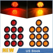 10 Red + 10 Amber 2 9 Led Round Truck Side Marker Clearance Light With/ Grommet