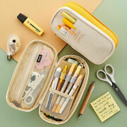 Multifunction Pencil Case School Large Canvas Pen Bag Zipper Cosmetic Pouch V1y0