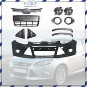 Front Bumper Cover And Front Grille Fog Lights Assembly For 2012 13 14 Ford Focus