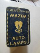 Vintage Ge Mazda Auto Lamps And Tin Box Carry Spare Mazda Lamps For Safetyand039s Sake