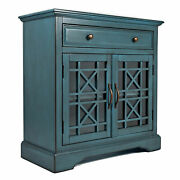 Craftsman Series 32 Inch Wooden Accent Cabinet With Fretwork Glass Front, Blue