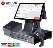 Double Touch Screens Pos / Cash Register 0 Monthly Fee Software For Retail