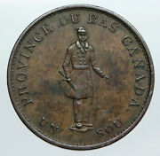 1837 Lower Canada Antique Montreal Building Half Penny Bank Token Coin I90540