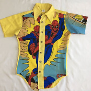 Vintage Marvel Comics Spider-man Collared All Over Shirt 1979 70`s M Rare Tee