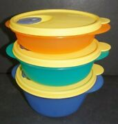 Tupperware Crystalwave Microwave Safe Containers Set Of 3 Bowls 3 Seals New