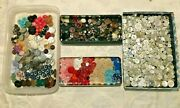 Huge Mixed Lot 1100 Vintage Buttons Mop Glass Rhinestone Metal Plastic + More