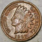 1907/1907 Rpd Indian Head Cent/penny Repunched Date Scarce Beauty Snow 4/vp-002