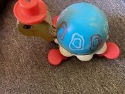 Fisher Price Vintage 773 Tip Toe Turtle Pull A Long String Toy 1962 Works  N