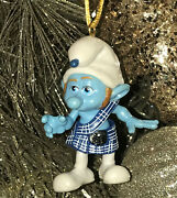 Custom Smurfs Poseable Jointed Blue Gutsy Smurf Christmas Holiday Ornament Pvc