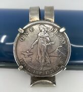 Vtg One Peso Philipinas Silver Coin Us Philippines Unique Setting 925 Plz Read