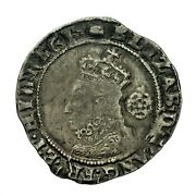 Elizabeth I Hammered Silver Sixpence 1594 Mm Tun S2578b
