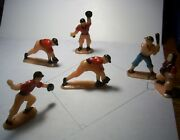 """Vintage Lot Toy Plastic Baseball Players Cake Toppers C. 1960's 1 ¾"""" To 2 ½"""""""