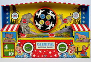 Vintage Ohio Art Carnival Shooting Gallery Game Mechanical Wind-up Tin Toy