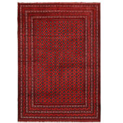 1302 Large Size Best Quality Hand-woven Red Khoja Roshnai Hall Rug 6and0395 X 9and0394 Ft