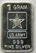 One .999 Fine Pure Silver Bar 1 Gram Weight Us Army