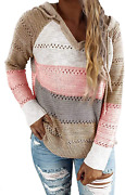 Womens Color Block Striped Hooded Sweaters Long Sleeve Loose Knitted Pullover Ju
