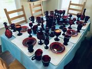 Avon Ruby Red 8-place Setting No Dinner Plates, Plus 17 Accessories, Vg To Exc