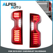 Set2 Red Clear Led Tail Lights Rear For 2019-2021 Chevrolet Chevy Silverado
