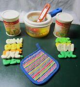 Vintage Fisher Price Fun With Food-simmering Saucepan/ Alphabet Soup Cans