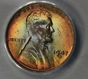 1947-d .01 Anacs Ms 64 Rb Lincoln Head Cent Lincoln One Cent
