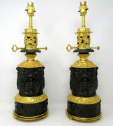 Rare Pair French Gilt Bronze Electric Table Oil Lamps Ormolu Mounts 19th Century